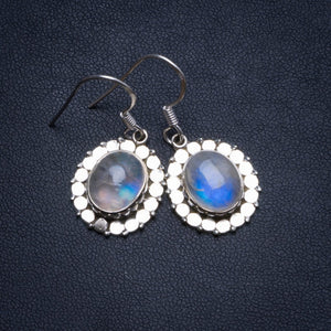 "Natural Rainbow Moonstone Handmade Indian 925 Sterling Silver Earrings 1 1/4"" U1282"