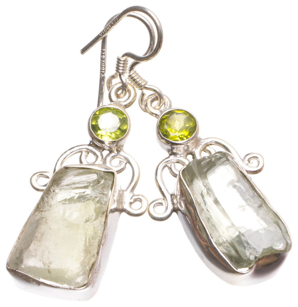 Natural Crystal and Peridot Handmade Mexican 925 Sterling Silver Earrings 1 1/2