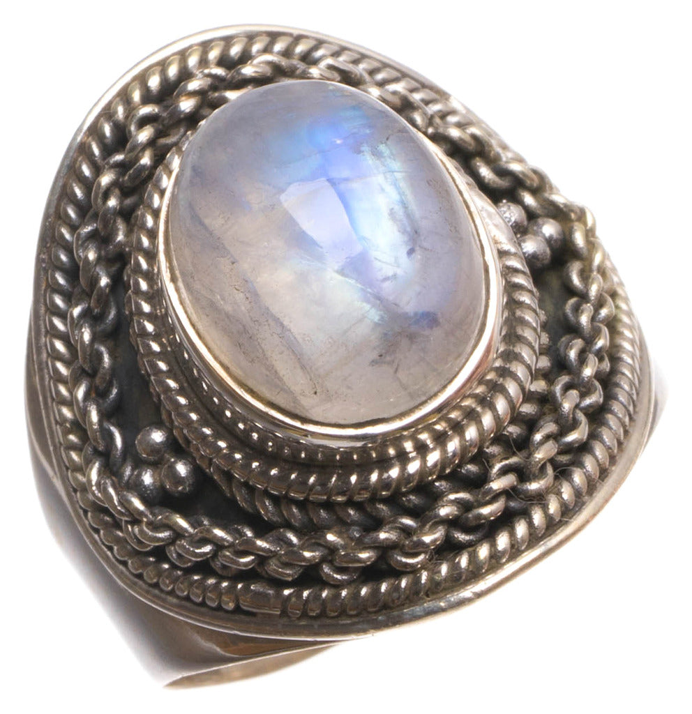 Natural Rainbow Moonstone Handmade Boho 925 Sterling Silver Ring, size 7 U1441