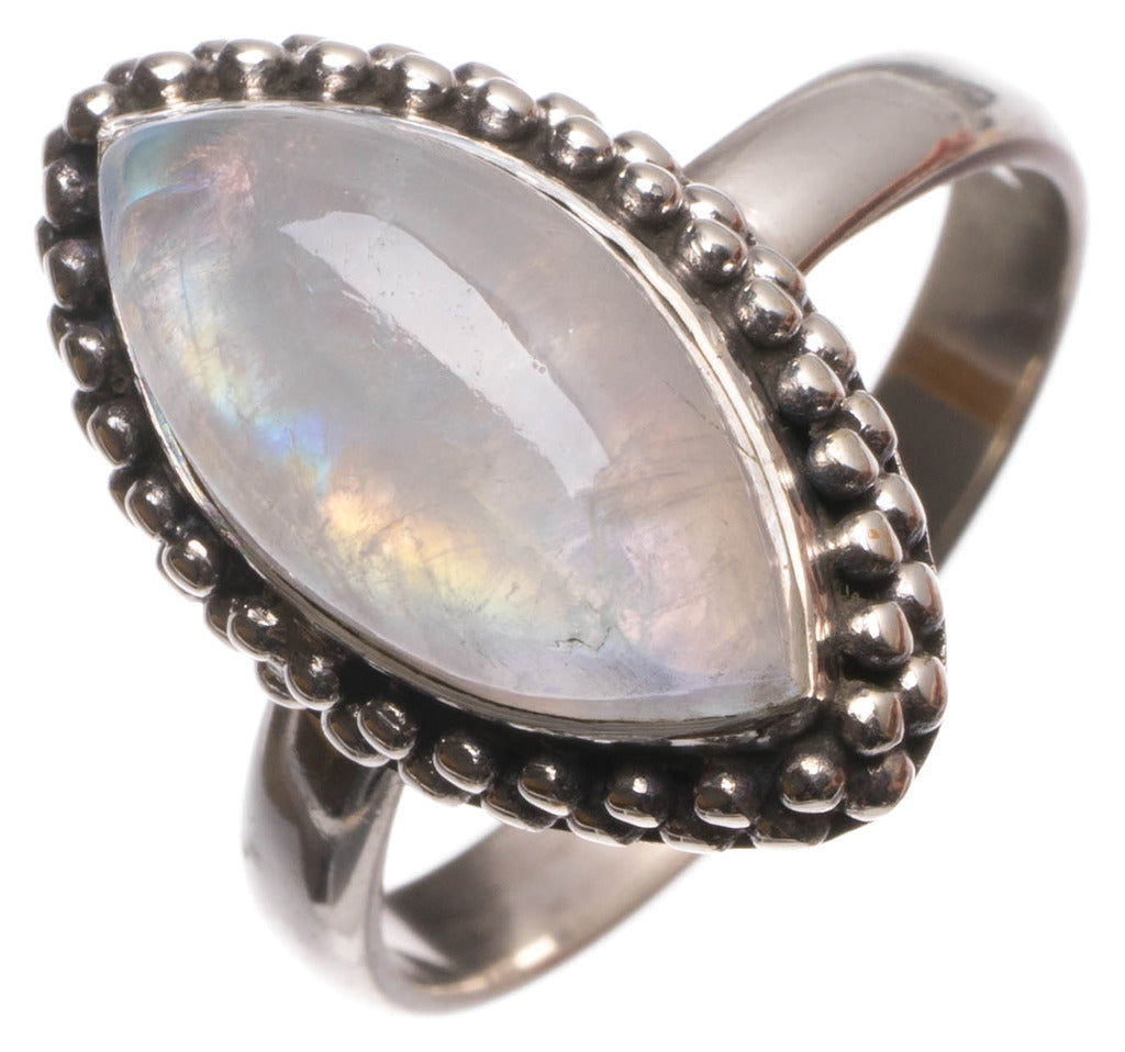 Natural Rainbow Moonstone Handmade Unique 925 Sterling Silver Ring, size 7.75 U1578