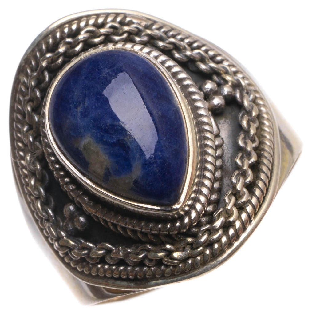 Natural Navy Sodalite Handmade Mexican 925 Sterling Silver Ring, size 8.25 U1726