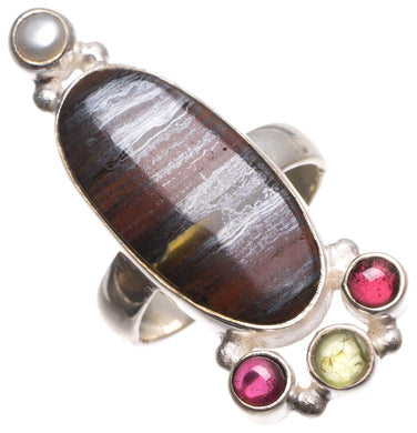 Natural Hematite,Amethyst,Prehnite and River Pearl Indian 925 Sterling Silver Ring, 7.75 U1822