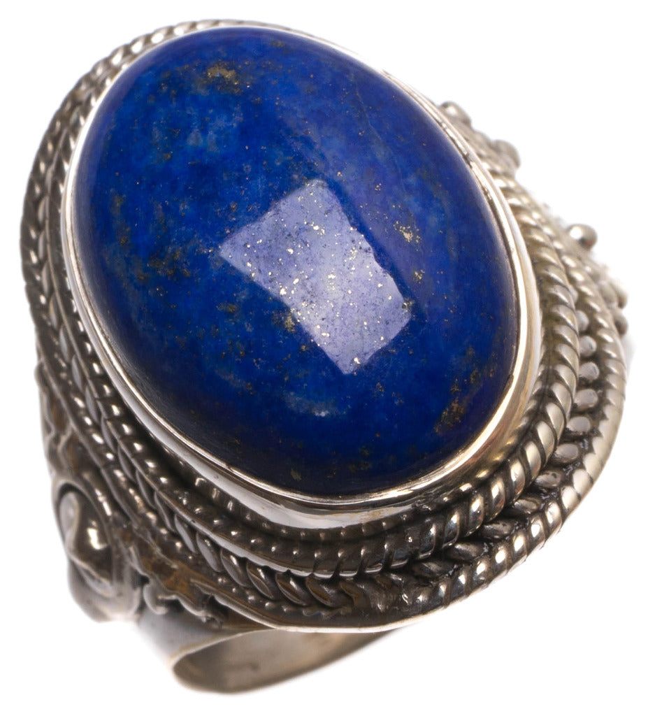 Natural Lapis Lazuli Handmade Indian 925 Sterling Silver Ring, size 7 U1867