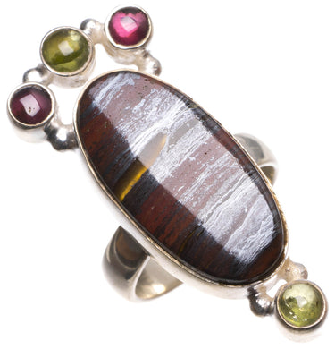 Natural Hematite,Amethyst and Prehnite Handmade Boho 925 Sterling Silver Ring, size 6.75 U1969