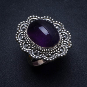 Natural Amethyst Handmade Indian 925 Sterling Silver Ring, size 7.75 U1927