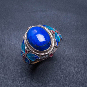 Natural Lapis Lazuli And Cloisonne Opening Handmade 925 Sterling Silver Ring 9 D1282