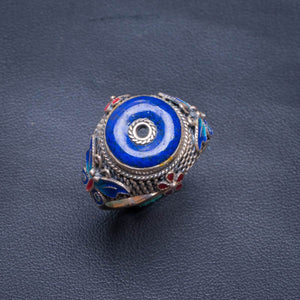 Natural Lapis Lazuli Copper-Shape Opening Handmade 925 Sterling Silver Ring 8.75 D1303