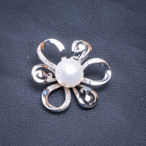 "Natural Pearl And Zircon Flower Handmade 925 Sterling Silver Pendant 1"" D1507"