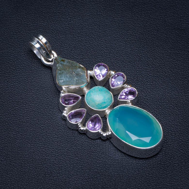 Natural Chalcedony,Amazonite,Amethyst And Rough Aquamarine Handmade 925 Sterling Silver Pendant 2.25