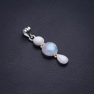 Natural Moonstone And Howlite Handmade 925 Sterling Silver Pendant 1.75