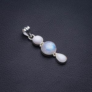 "Natural Moonstone And Howlite Handmade 925 Sterling Silver Pendant 1.75"" D1710"