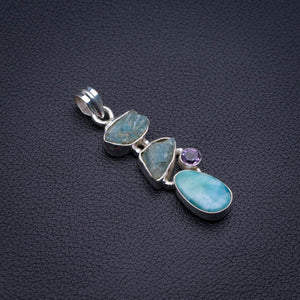 "Natural Larimar,Rough Aquamarine And Amethyst Handmade 925 Sterling Silver Pendant 2"" D1790"