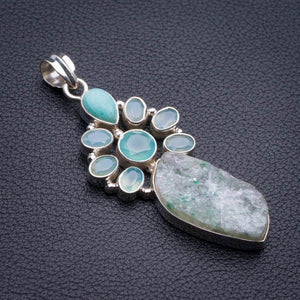 "Natural Snakeskin Quartz,Chalcedony And Amazonite Handmade 925 Sterling Silver Pendant 2.5"" D1932"