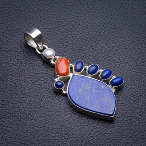 "Natural Lapis Lazuli,Red Coral And River Pearl Handmade 925 Sterling Silver Pendant 2"" D1935"