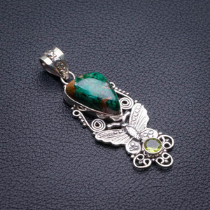"Natural Chrysocolla And Peridot Butterfly Handmade 925 Sterling Silver Pendant 2"" D1936"