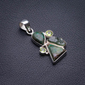 "Natural Chrysocolla,Green Amethyst Rough And Peridot Handmade 925 Sterling Silver Pendant 1.5"" D1972"