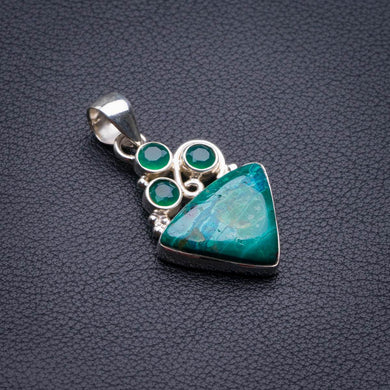 Natural Chrysocolla And Chrysoprase Handmade 925 Sterling Silver Pendant 1.5