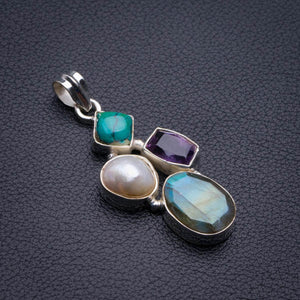 "Natural Blue Fire Labradorite And Amethyst,Biwa Pearl And Turquoise Handmade 925 Sterling Silver Pendant 2"" D2065"