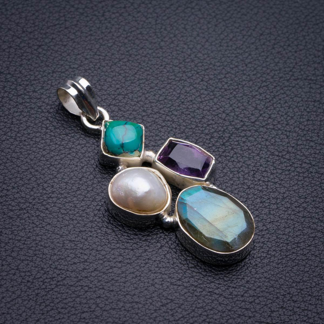 Natural Blue Fire Labradorite And Amethyst,Biwa Pearl And Turquoise Handmade 925 Sterling Silver Pendant 2