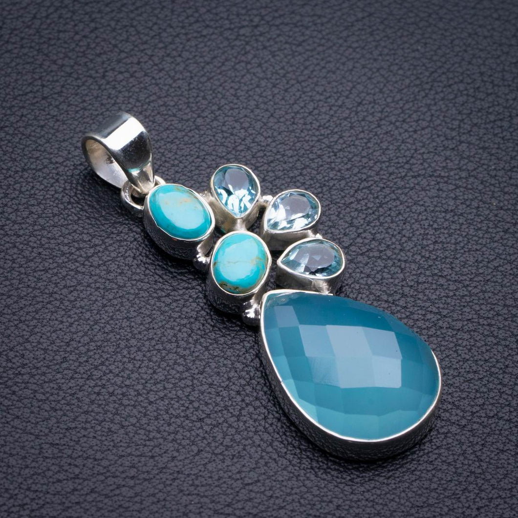 Natural Chalcedony,Turquoise And Blue Topaz Handmade 925 Sterling Silver Pendant 2