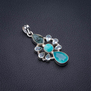 "Natural Chalcedony,Amazonite,Blue Toapz And Rough Aquamarine Handmade 925 Sterling Silver Pendant 2"" D2140"