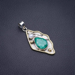 "Natural Two Tones 18K Gold Plated Emerald And River Pearl Handmade 925 Sterling Silver Pendant 2"" D2187"