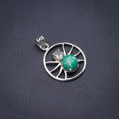 Natural Amazonite And White Topaz Spider Handmade 925 Sterling Silver Pendant 1.5