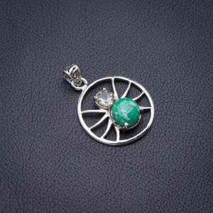 "Natural Amazonite And White Topaz Spider Handmade 925 Sterling Silver Pendant 1.5"" D2226"