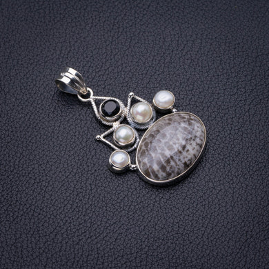 Natural Stingray Coral,River Pearl And Black Onyx Handmade 925 Sterling Silver Pendant 1.75