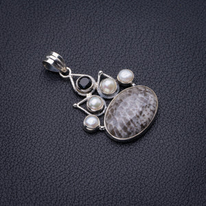 "Natural Stingray Coral,River Pearl And Black Onyx Handmade 925 Sterling Silver Pendant 1.75"" D2343"