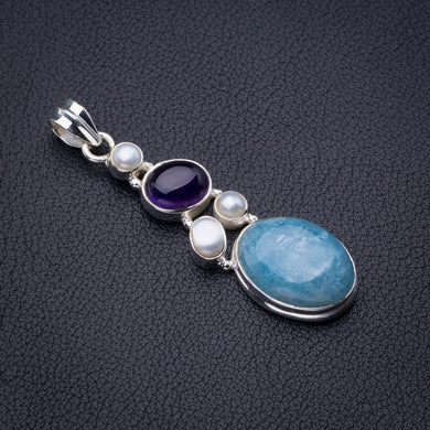 Natural Milky Aquamarine,Amethyst And River Pearl Handmade 925 Sterling Silver Pendant 2.5