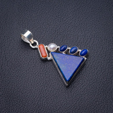 Natural Lapis Lazuli,Red Coral And River Pearl Handmade 925 Sterling Silver Pendant 1.75