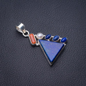 "Natural Lapis Lazuli,Red Coral And River Pearl Handmade 925 Sterling Silver Pendant 1.75"" D2378"