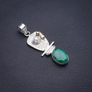 Natural Two Tones Emerald And River Pearl Handmade 925 Sterling Silver Pendant 2