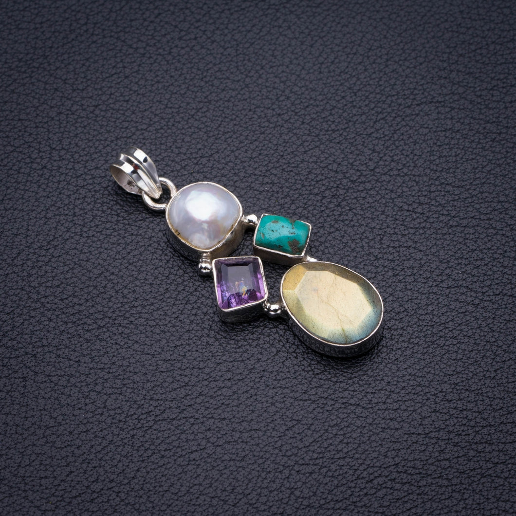 Natural Blue Fire Labradorite,River Pearl,Amethyst And Turquoise Handmade 925 Sterling Silver Pendant 1.75