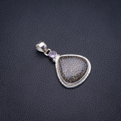 Natural Stingray Coral And Amethyst Handmade 925 Sterling Silver Pendant 1.75