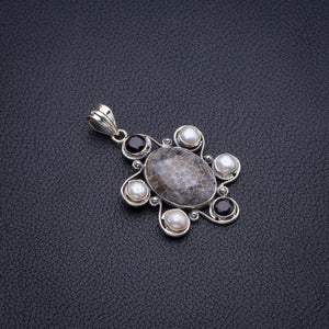 "Natural Stingray Coral,River Pearl And Black Onyx Handmade 925 Sterling Silver Pendant 2"" D3075"