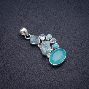 "Natural Chalcedony,Blue Topaz,Amazonite And Rough Aquamarine Handmade 925 Sterling Silver Pendant 2"" D3077"