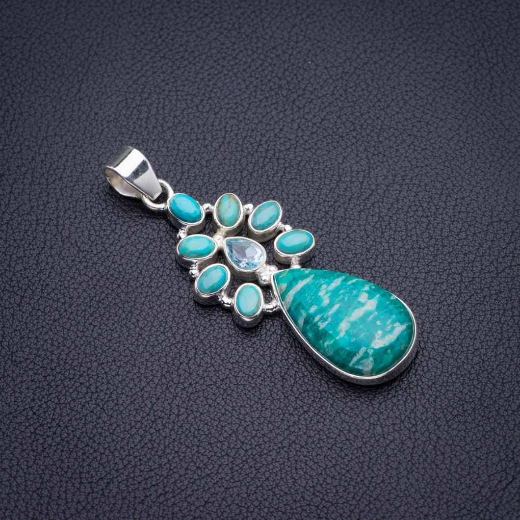 Natural Amazonite,Turquoise And Blue Topaz Handmade 925 Sterling Silver Pendant 2.25