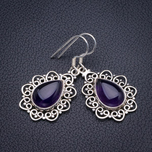 "Natural Amethyst Handmade 925 Sterling Silver Earrings 1.5"" D3700"