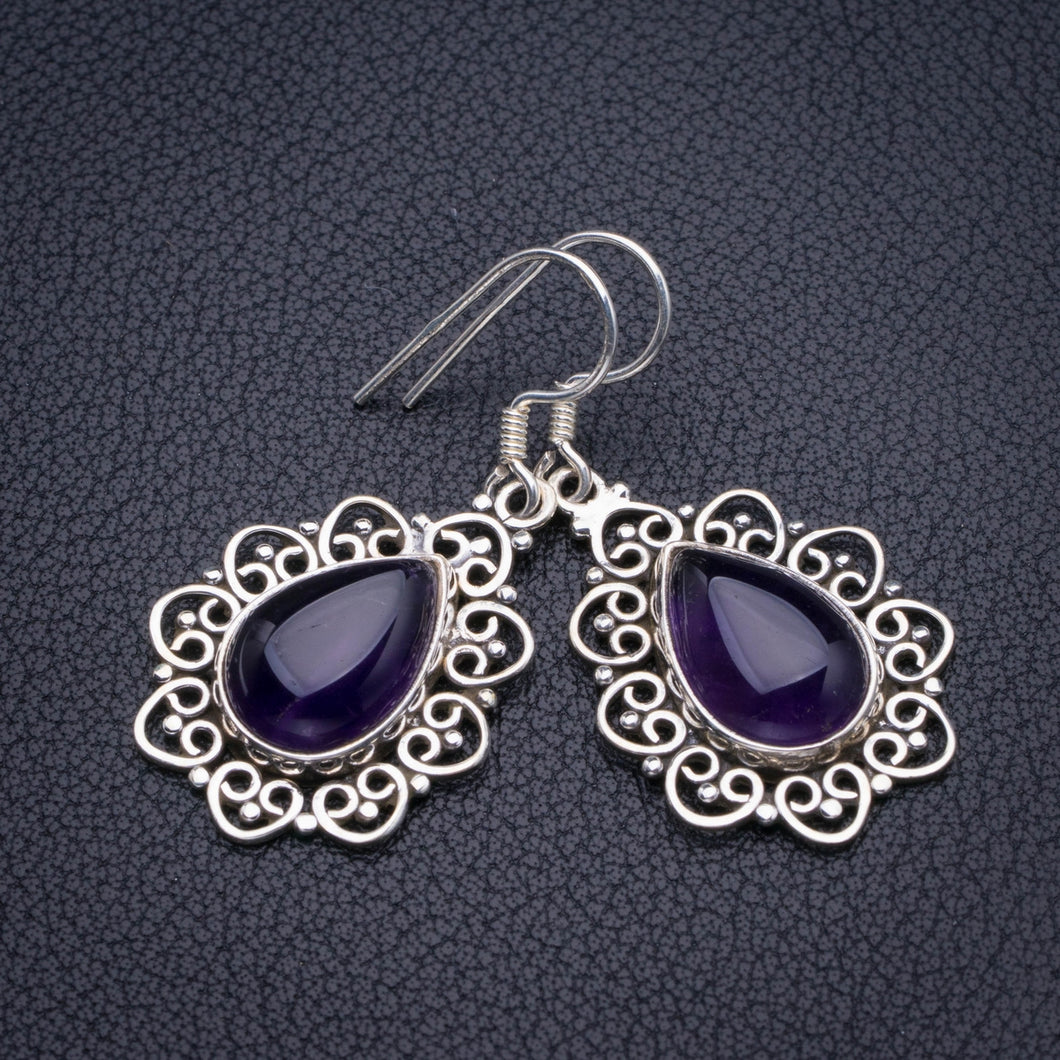 Natural Amethyst Handmade 925 Sterling Silver Earrings 1.5