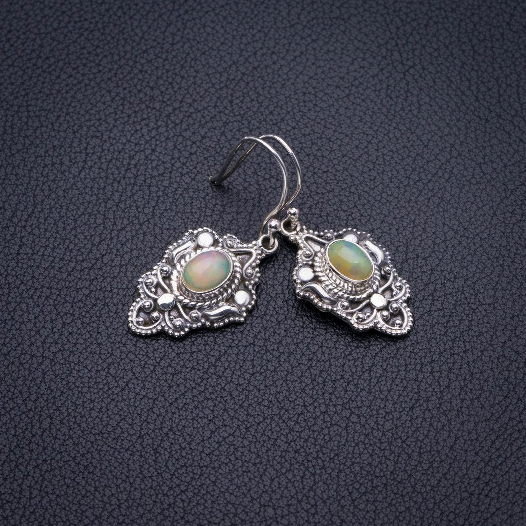 StarGems Natural Opal Handmade 925 Sterling Silver Earrings 1.5
