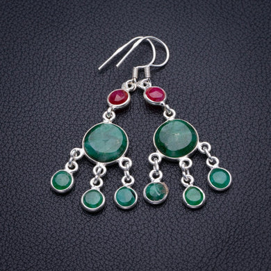 StarGems Natural Emerald And Cherry Ruby Handmade 925 Sterling Silver Earrings 2