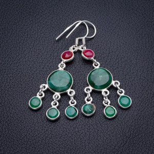 "StarGems Natural Emerald And Cherry Ruby Handmade 925 Sterling Silver Earrings 2"" D3995"