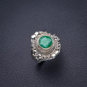 StarGems Natural Emerald Handmade 925 Sterling Silver Ring 9 D4475