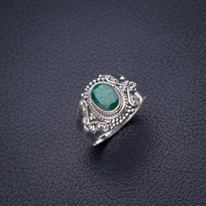 StarGems Natural Emerald Handmade 925 Sterling Silver Ring 8.5 D4484