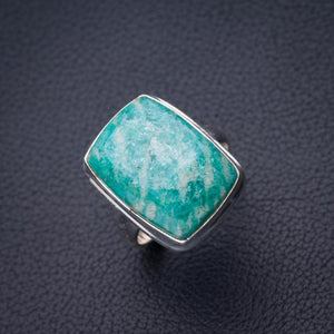 StarGems Natural Amazonite Handmade 925 Sterling Silver Ring 7.75 D4907