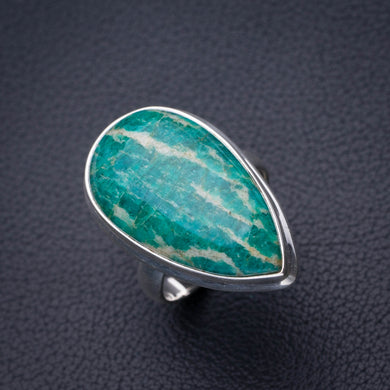 StarGems Natural Amazonite Handmade 925 Sterling Silver Ring 8 D4908