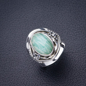 StarGems Natural Amazonite Handmade 925 Sterling Silver Ring 7.5 D4909