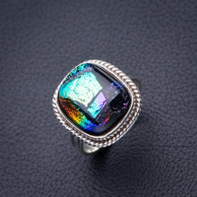 StarGems Natural Rainbow Dichroic Glass Handmade 925 Sterling Silver Ring 7.25 D5227